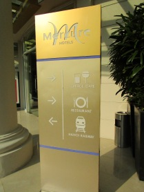 Signage outside the hotel